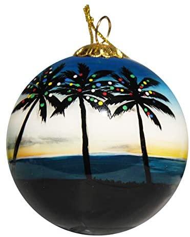 Art Studio Company Hand Painted Glass Christmas Ornament - Palm Trees with Lights Tamarindo, Costa Rica