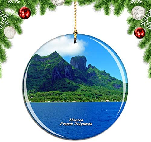 Weekino Opunohu Bay Moorea French Polynesia Christmas Ornament City Travel Souvenir Collection Double Sided Porcelain 2.85 Inch Hanging Tree Decoration