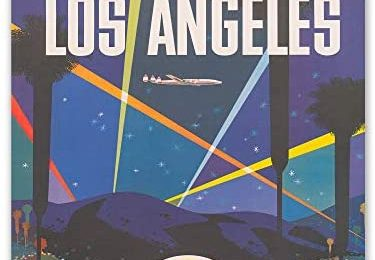 Insire Vintage Travel Poster – Set of 1 Unframed (11×14 inches) Los Angeles Travel Poster – California LA Skyline Travel Decor – United States of America – For Home, Room, Bedroom, Office, Decorations