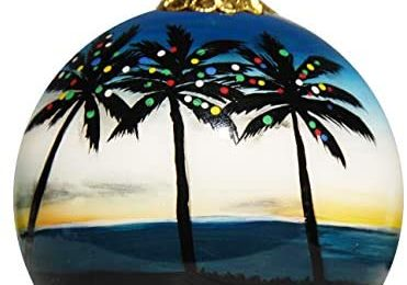Art Studio Company Hand Painted Glass Christmas Ornament – Palm Trees with Lights Caribbean