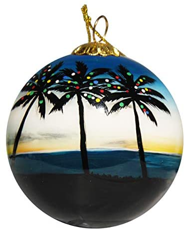 Art Studio Company Hand Painted Glass Christmas Ornament - Palm Trees with Lights Caribbean