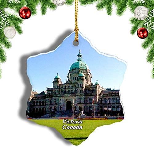 "Weekino Canada Canada British Columbia Parliament Buildings Victoria Christmas Ornament Travel Souvenir Tree Hanging Pendant Decoration Porcelain 3"" Double Sided"