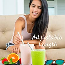 Adjustable length smoothie straw indoor outdoor steel compact long short sip colaspable colaspable