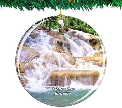 Weekino Ocho Rios Ocho Rios Jamaica Christmas Ornament City Travel Souvenir Collection Double Sided Porcelain 2.85 Inch Hanging Tree Decoration