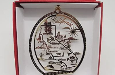 Nations Treasures California State Brass Christmas Ornament