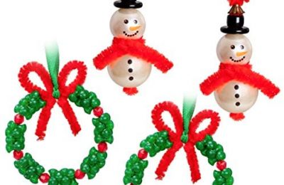Christmas Craft for Kids 15 PCS Snowman plus 12 PCS Wreath Beaded Ornaments Kits — Xmas Holiday Party Tree Favor Decorations(Assembly Needed)