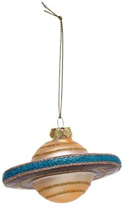 Creative Co-op Saturn Outer Space Planet Hand Painted Glass Ornament
