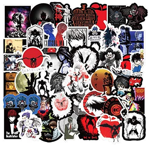 Death Note Stickers| 50 Pcak |Anime Vinyl Waterproof Stickers for Laptop,Bumper,Water Bottles,Computer,Phone,Hard hat,Car Stickers and Decals, Teens Stickers for Kids