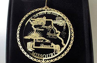 Missouri State Brass Christmas Ornament Black Leatherette Gift Box