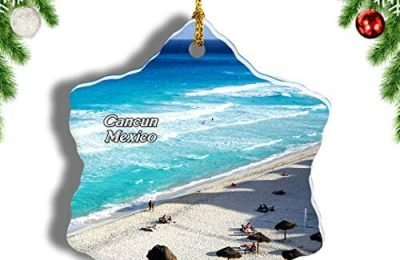 Weekino Mexico Dolphins Beach Cancun Christmas Ornament Travel Souvenir Tree Hanging Pendant Decoration Porcelain 3″ Double Sided