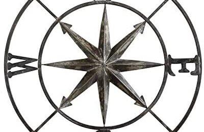 Creative Co-op Decorative Round Metal Compass Wall Décor, 30″, Black,DA7818