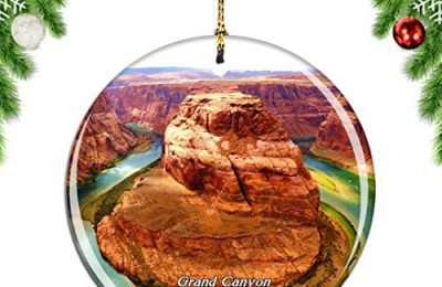 Weekino USA America Grand Canyon National Park Christmas Xmas Tree Ornament Decoration Hanging Pendant Decor City Travel Souvenir Collection Double Sided Porcelain 2.85 Inch