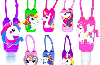MimeHime Hand Sanitizer Holder Keychain 6pack w/Squeeze AND Spray – 1oz Small Travel Size, Leak Proof Empty Bottles w/Hook Hanging for BackPack, Belt, Pocket, Pocketbac, Purse, Car (Unicorn)