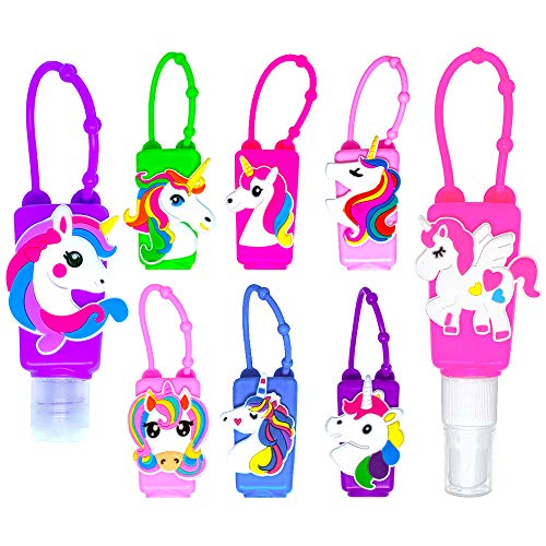 MimeHime Hand Sanitizer Holder Keychain 6pack w/Squeeze AND Spray - 1oz Small Travel Size, Leak Proof Empty Bottles w/Hook Hanging for BackPack, Belt, Pocket, Pocketbac, Purse, Car (Unicorn)