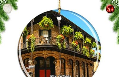 Weekino USA America French Quarter New Orleans Christmas Xmas Tree Ornament Decoration Hanging Pendant Decor City Travel Souvenir Collection Double Sided Porcelain 2.85 Inch