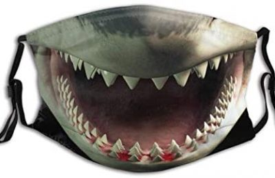 Shark Teeth Print Unsex Dustproof Adjustable Earloop Balaclava Face Mask Mouth Protection Cotton with 2 Filters for Cycling Travel Outdoors