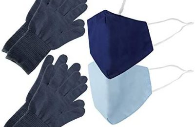 Be Wise Unisex-Adult Washable & Reusable Personal Protection Face Mask, Gloves, and Touch Tool Utility Kit
