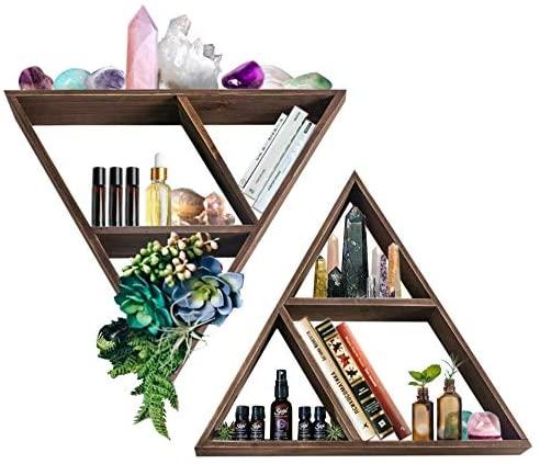 Triangle Shelf: Wall Display for Crystals, Stones, Knick Knacks   Geometric Shelf   Farmhouse Rustic Home Decor   Meditation Shelves   Floating Shelves for Living Room   Wooden Crystal Holder Storage