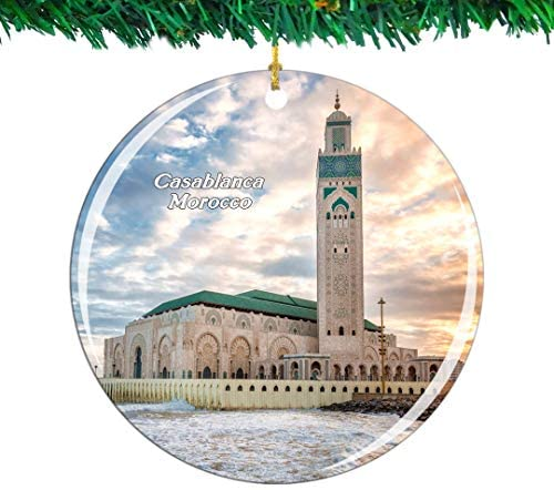Weekino Morocco Hassan II Mosque Casablanca Christmas Ornament City Travel Souvenir Collection Double Sided Porcelain 2.85 Inch Hanging Tree Decoration