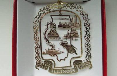 Illinois State Brass Christmas Ornament