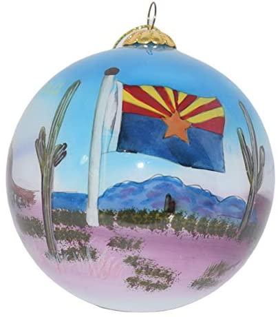Art Studio Company Hand Painted Glass Christmas Ornament - Arizona State Images