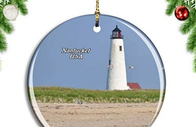 Weekino USA America Nantucket Great Point Lighthouse Christmas Xmas Tree Ornament Decoration Hanging Pendant Decor City Travel Souvenir Collection Double Sided Porcelain 2.85 Inch
