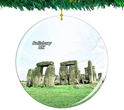 Weekino UK England Stonehenge Salisbury Christmas Ornament City Travel Souvenir Collection Double Sided Porcelain 2.85 Inch Hanging Tree Decoration