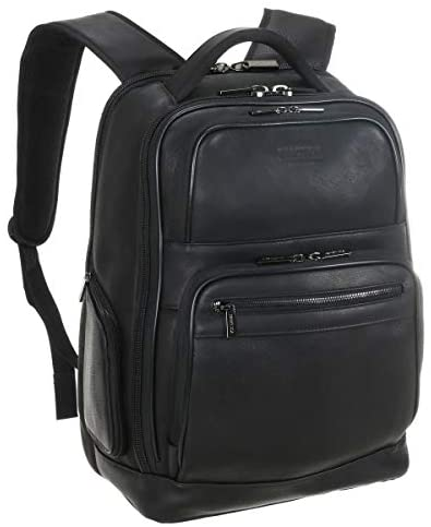 Kenneth Cole Reaction Manhattan Colombian Leather Laptop Backpack RFID Business, School, Travel Computer Bookbag, Black