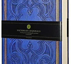 "VICTORIA'S JOURNALS Leatherette Vintage Journal Hard Cover Lined Notebook Old Looking Travel Diary, 5.7"" x 8.1"" (Navy Blue)"