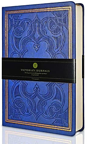 VICTORIA'S JOURNALS Leatherette Vintage Journal Hard Cover Lined Notebook Old Looking Travel Diary, 5.7'' x 8.1'' (Navy Blue)