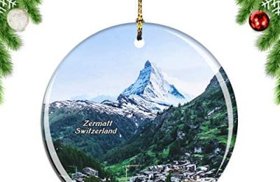 Weekino The Matterhorn Zermatt Switzerland Swiss Christmas Ornament City Travel Souvenir Collection Double Sided Porcelain 2.85 Inch Hanging Tree Decoration