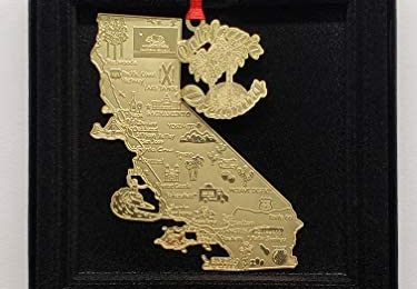 California Dreaming Brass Large Landmarks Ornament Black Leatherette Gift Box