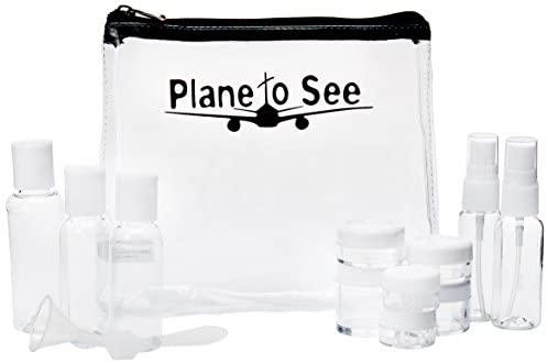 Miamica TSA Compliant Travel Bottles and Toiletry Bag Kit, 15 Piece, Black, One Size