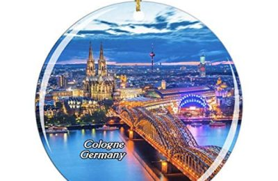 Weekino Germany Hohenzollern Bridge KolnTriangle Cologne Christmas Ornament City Travel Souvenir Collection Double Sided Porcelain 2.85 Inch Hanging Tree Decoration