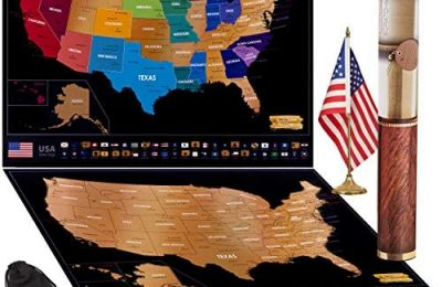 "Scratch off Map of USA Travel Poster With US States Outlined State Flags 24"" x 17″ 