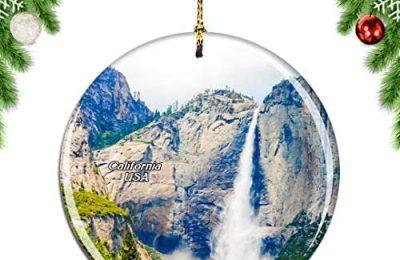 Weekino America USA Yosemite Falls California Christmas Xmas Tree Ornament Decoration Hanging Pendant Decor City Travel Souvenir Collection Double Sided Porcelain 2.85 Inch