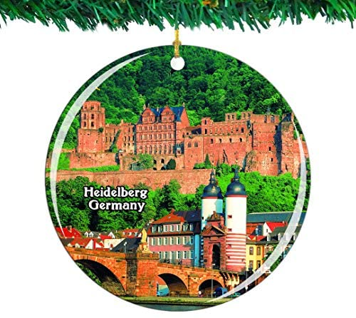 Weekino Germany Heidelberg Castle Old Bridge Christmas Ornament City Travel Souvenir Collection Double Sided Porcelain 2.85 Inch Hanging Tree Decoration