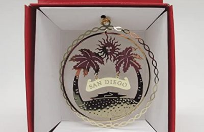 San Diego California Brass Christmas Ornament
