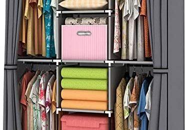 YOUUD Wardrobe Storage Closet Clothes Portable Wardrobe Storage Closet Portable Closet Organizer Portable Closets Wardrobe Closet Organizer Shelf Wardrobe Clothes Organizer Standing Closet Gray