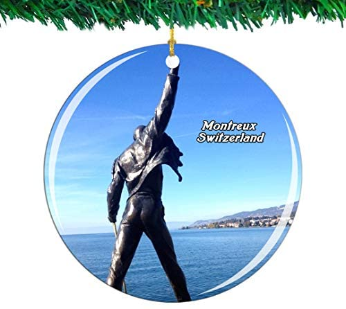 Weekino Switzerland Memorial Montreux Christmas Ornament City Travel Souvenir Collection Double Sided Porcelain 2.85 Inch Hanging Tree Decoration