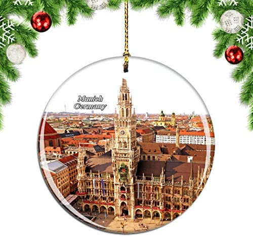 Weekino Germany Marienplatz New Town Hall Munich Christmas Ornament City Travel Souvenir Collection Double Sided Porcelain 2.85 Inch Hanging Tree Decoration