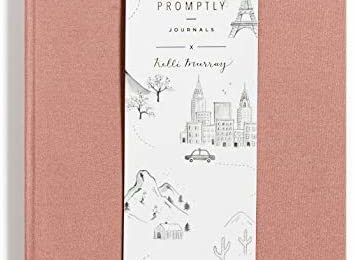 Promptly Journals – Compact Travel Journal, Elegant Minimalist Design, Linen Wrapped, Prompts to Track Your Travels, Keepsakes, Photos (Dusty Rose)