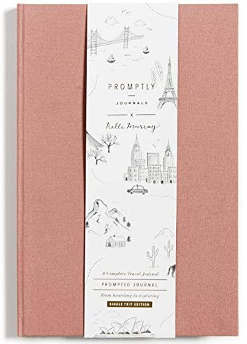 Promptly Journals - Compact Travel Journal, Elegant Minimalist Design, Linen Wrapped, Prompts to Track Your Travels, Keepsakes, Photos (Dusty Rose)