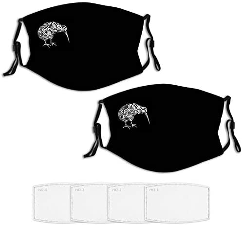 Washable Kiwi Bird Aotearoa New Zealand Tribal Reusable Adult Face Mask 2PCS 4Filters Bandana Scarf