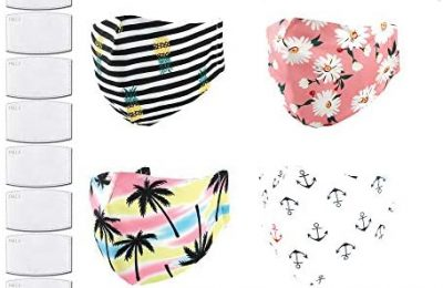 Resuable Fashion Face Mask – Cloth Fabric Face Cover Protection – Pineapple, Palm Tree, Flower, Anchor – Filters Included