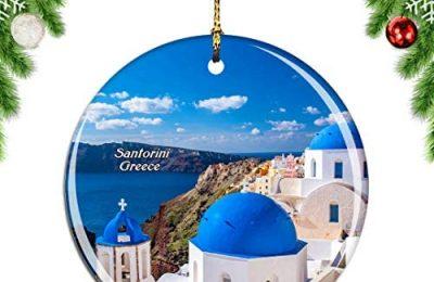 Weekino Greece Blue Church Oia Santorini Christmas Xmas Tree Ornament Decoration Hanging Pendant Decor City Travel Souvenir Collection Double Sided Porcelain 2.85 Inch