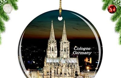 Weekino Germany Cologne Cathedral Christmas Xmas Tree Ornament Decoration Hanging Pendant Decor City Travel Souvenir Collection Double Sided Porcelain 2.85 Inch
