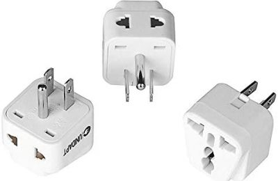US Plug Adapter – Unidapt EU Europe to USA American Travel Power Plug Adapter – Dual Inputs – Safe Grounded Outlet – European to USA Canada Universal Socket (Pack of 3)