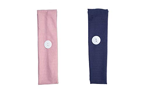 Allure Ribbed Headband Holders for Mask, Button Headbands, 2-pack