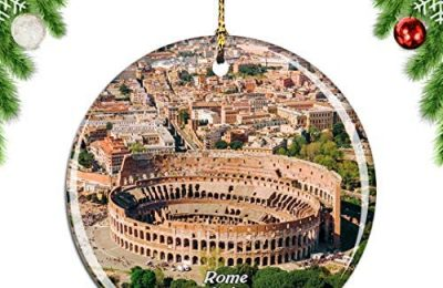Weekino Italy Colosseum Rome .png Christmas Xmas Tree Ornament Decoration Hanging Pendant Decor City Travel Souvenir Collection Double Sided Porcelain 2.85 Inch